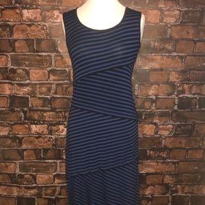 Max Studio asymmetrical striped print maxi dress